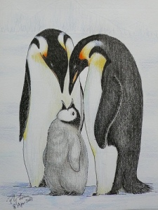 emperor-penguins-pencil-drawing-by-poyee-lam