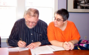 Susan Bernstein and Steve Cormany at work in the WITS Library, 2003