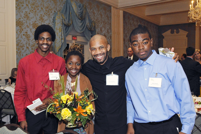 """Jeremy with past members Ebonne and Jordan, and Meta-Four coach """"Outspoken Bean"""""""